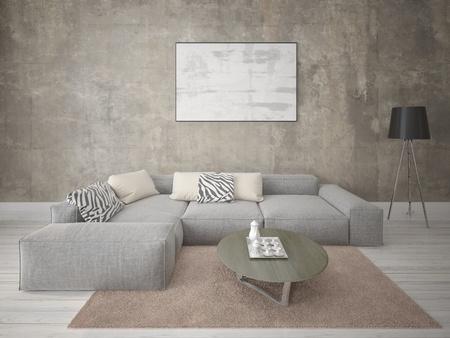 Mock up est un salon parfait avec un canapé d'angle confortable.