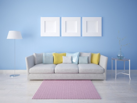 Compact sofa and a trendy blue background. 版權商用圖片