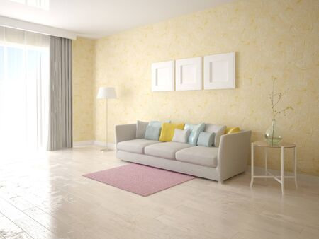 Mock up stylish living room with plaster.