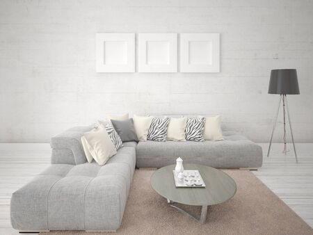 Mock up a modern living room with an original corner sofa and a light hipster backdrop.