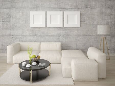 Mock up a trendy living room with a stylish, original sofa and a light hipster backdrop. Stockfoto