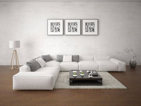 Mock up a perfect living room and large bright corner sofa and stylish hipster backdrop. Stockfoto