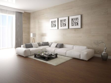 Mock up the perfect living room with a wide comfortable sofa and trendy decorative plaster. Фото со стока