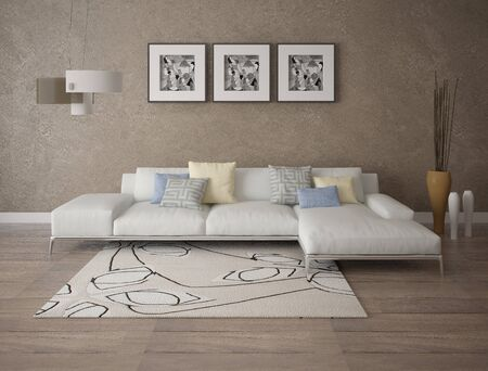 Mock up a perfect living room and large bright corner sofa and stylish decorative plaster.