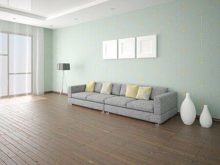 Mock up the original living room with a comfortable original sofa and trendy original backdrop. Фото со стока