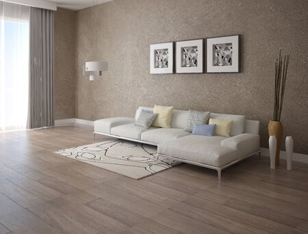 Mock up a trendy living room with a stylish corner sofa and an modern background backdrop.