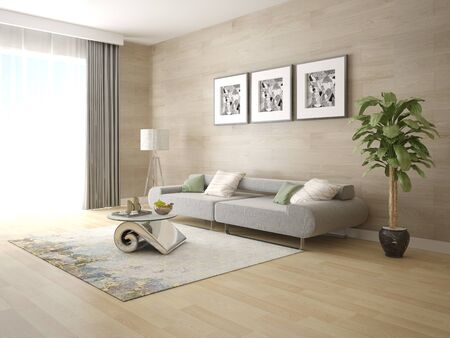 Mock up the original living room with a trendy comfortable sofa and stylish perfect background. Zdjęcie Seryjne
