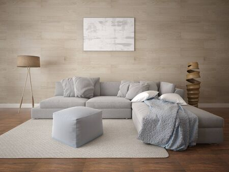 Mock up a spacious living room with a large corner sofa and fashion perfect background.