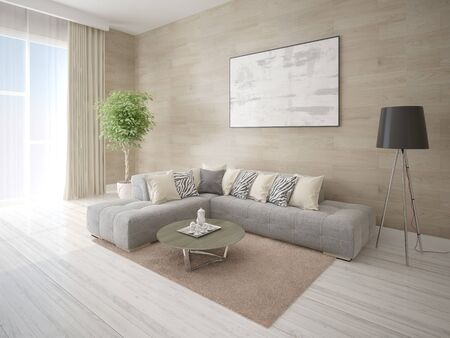 Mock up fashionable living room with a comfortable corner sofa and stylish modern background.