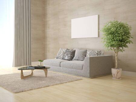 Mock up modern living room with original comfortable sofa and stylish original backdrop.