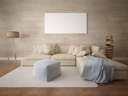 Mock up a perfect living room with a stylish corner sofa and an original stylish background. 版權商用圖片