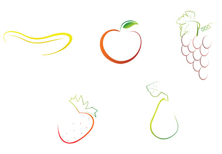 8 vector file, easy to edit fruits illustrations Illustration