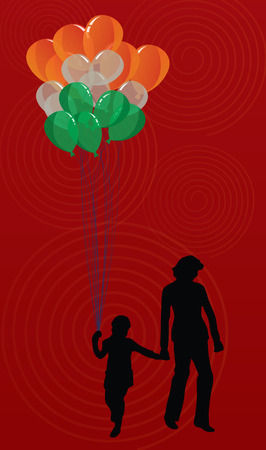 ribbin: Woman and kid with tricolor balloons with abstract background