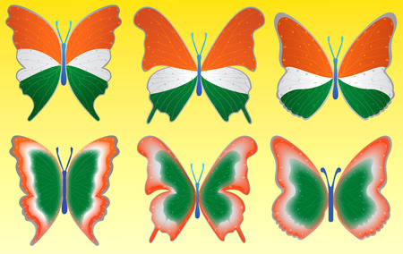 Tri color butterfly on yellow background for indian
