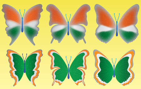 graceful: Tri color butterfly on yellow background for indian