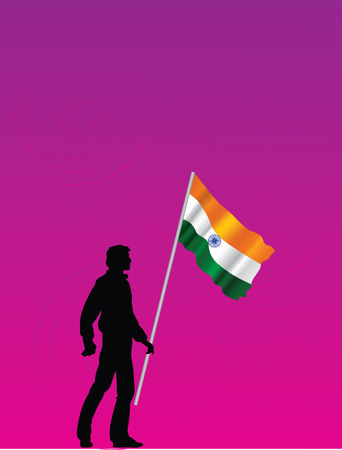 Man with tricolor flag on circled background