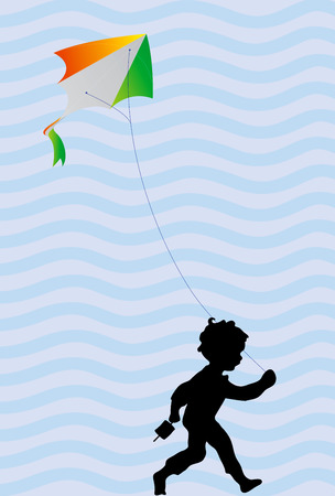 ribbin: kid with tricolor kite with abstract background