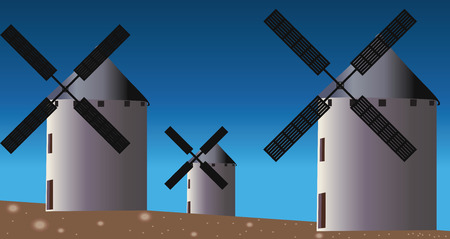Three vector windmills in field