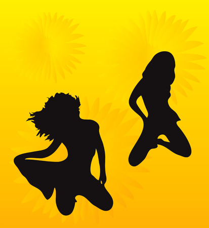 Two teens on yellow background with nice motif