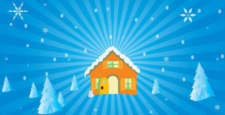 Christmas  background and hut with iceman Stock Vector - 3409269
