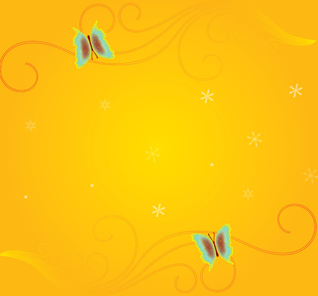 yellow christmas with motif and butterfly