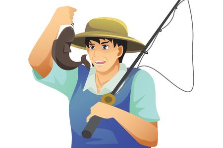 Fisherman catching fish.