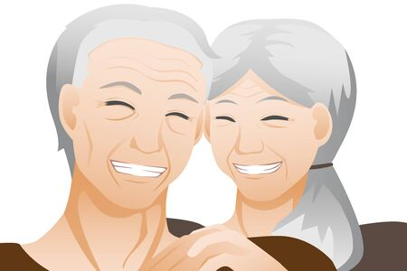 Old couple with white background