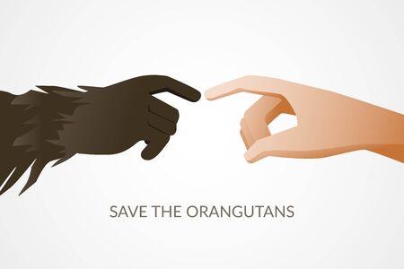 Poster illustration for orangutans preservation