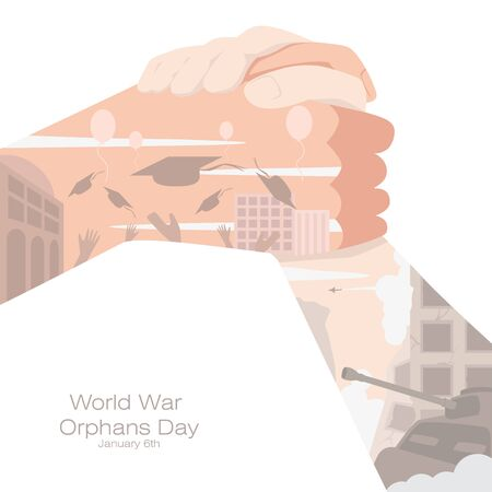World War Orphans Day poster. A hand help the child hand up for the better future.