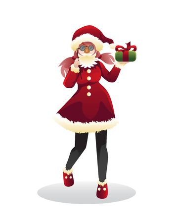 Girl wearing santa costume with fake santa beard Stock Illustratie