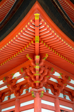 japanese temple: Japanese temple architecture geometric detail Stock Photo