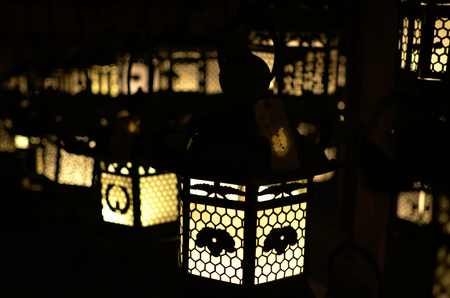 meditation room: Kasuga Taisha shrine lanterns Stock Photo