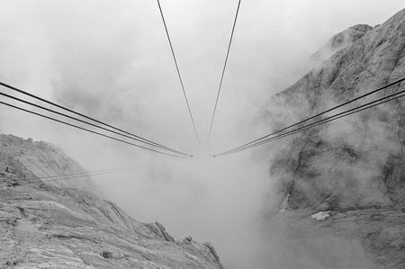 ropeway: Ropeway from Marmolada glacier in Italy