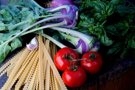 ingredients for pasta with vegetables Stock Photo - 15500414