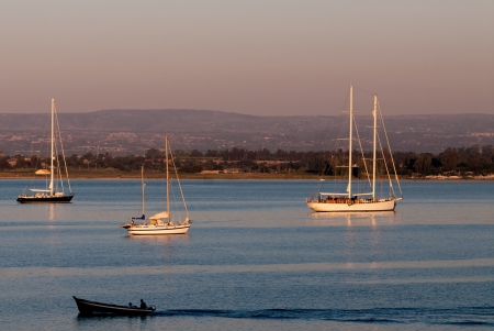 Sicily, Siracusa, view from ortigia at sunrise