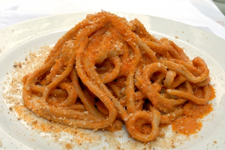 delicious plate of spaghetti with tomato sauce photo