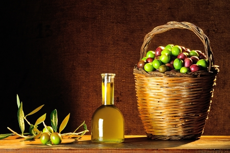basket of typical Sicilian olives freshly picked photo