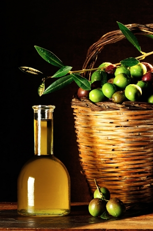 picked: basket of typical Sicilian olives freshly picked Stock Photo