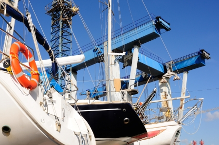 drydock: recreational boats in the harbor Stock Photo