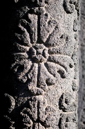 friso: friso decorativo, roca de lava en la ciudad de Catania Foto de archivo