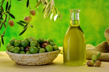 typical extra virgin olive oil of the Sicilian countryside Stock Photo