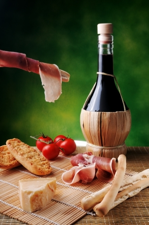 daniele: typical Italian snack with cheese and red wine