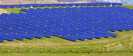 landscape with modern photovoltaic panels in Sicily