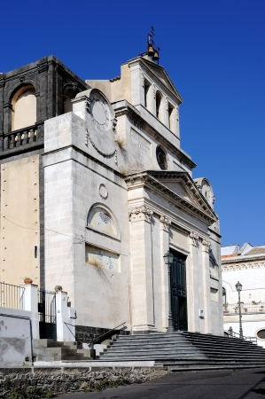 near side: an old Catholic church near Catania, in mount Etna side Stock Photo
