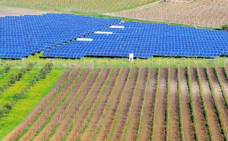 outdoor electricity: landscape with modern photovoltaic panels in Sicily