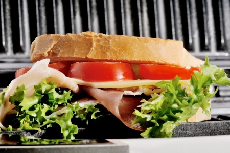 toast with ham cheese and lettuce photo
