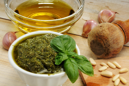 cooking oil: Ingredients for pesto Genovese, green sauce made with basil Stock Photo