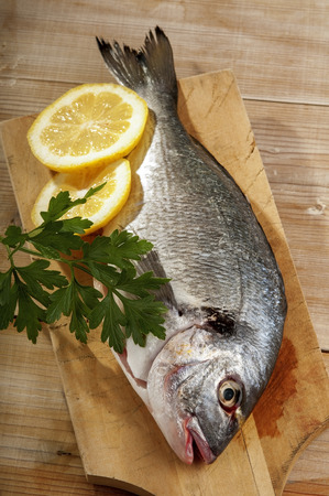 domestically: Sea bream, typical Mediterranean fish. Ready to cook Stock Photo
