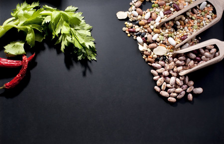 legumes and natural flavors on a blackboard photo