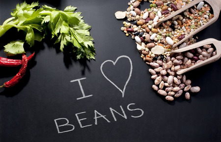 legumes and natural flavors on a blackboard